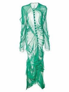 yuhan wang draped button dress - Green