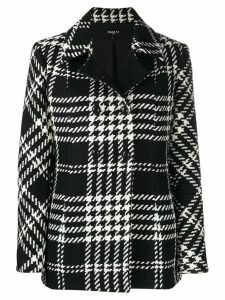Paule Ka double breasted checked coat - Black