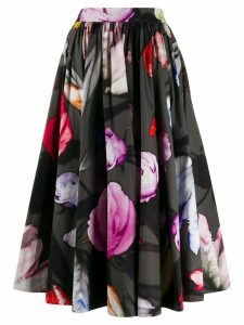 Prada floral print pleated skirt - Black