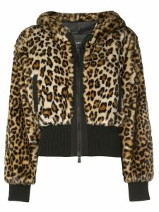Boutique Moschino cropped leopard print jacket - Brown