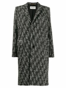 Saint Laurent chevron pattern single-breasted coat - Black
