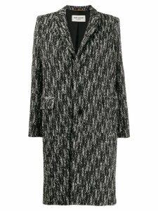 Saint Laurent chevron pattern single-breasted coat - Black