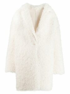 Pinko textured cocoon coat - White