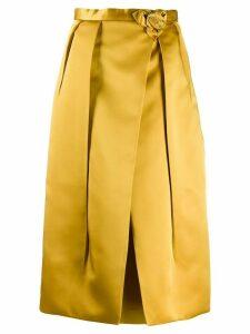 Prada rose motif pleated skirt - Yellow