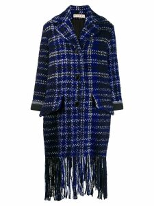 Marni plaid fringe coat - Blue