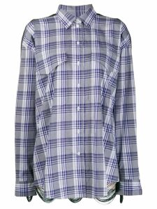 pushBUTTON contrast check print shirt - Blue