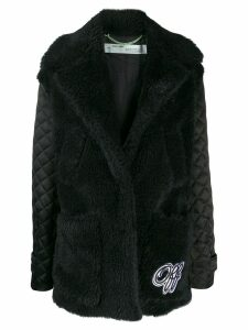 Off-White faux-fur padded coat - Black