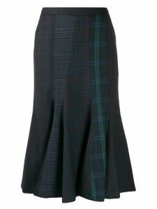 pushBUTTON flared midi skirt - Blue