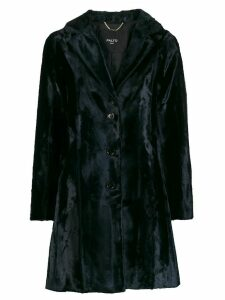 Paltò single-breasted velvet coat - Blue