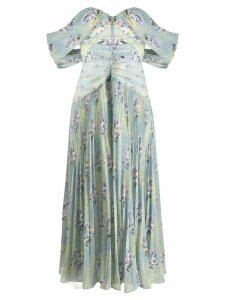 Self-Portrait sweetheart floral print dress - Blue