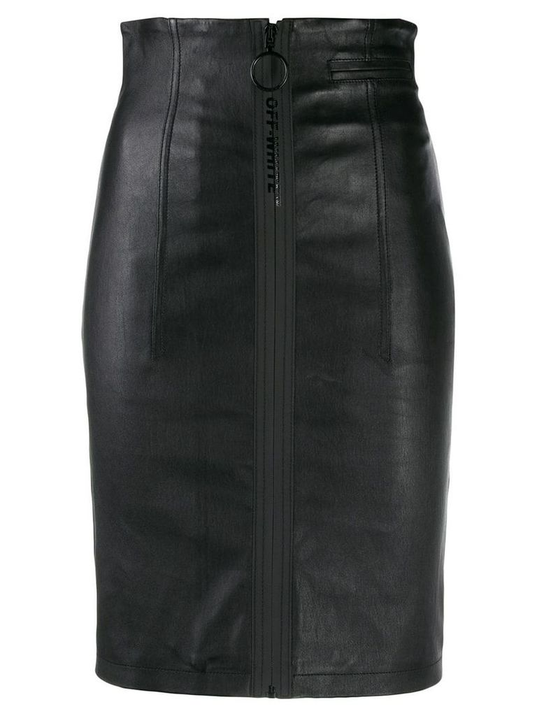 Off-White front zip pencil skirt - Black