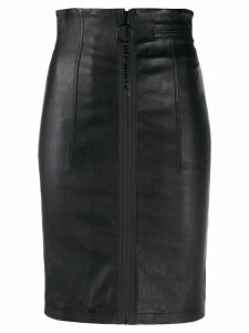Off-White front zip pencil skirt - Black