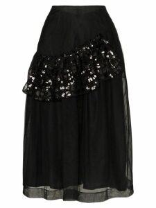 Simone Rocha sequin-ruffle tulle midi-skirt - Black