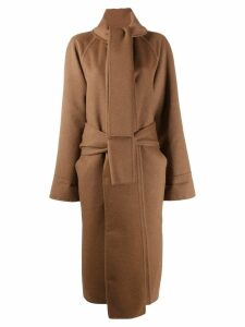Salvatore Ferragamo wrap neck belted coat - Brown