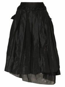 Simone Rocha asymmetric taffeta midi skirt - Black