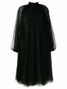 Rochas ruffled neck midi dress - Black