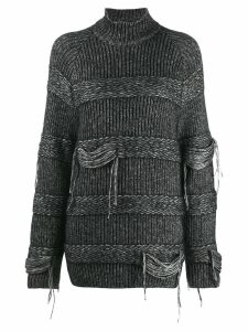 MRZ distressed chunky knit sweater - Black