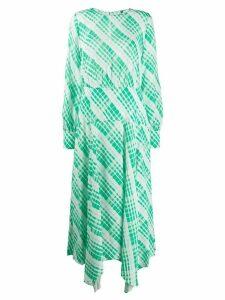 Rixo long check print dress - White