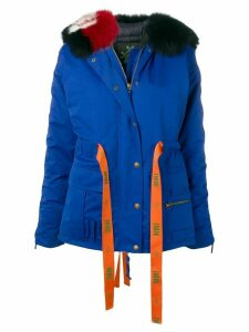 Mr & Mrs Italy ribbon waist padded coat - Blue