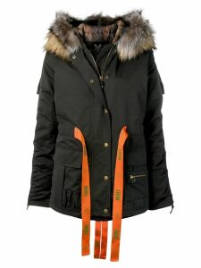 Mr & Mrs Italy ribbon tied padded coat - Black