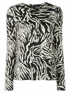 Proenza Schouler Zebra Long Sleeve T-Shirt - Black