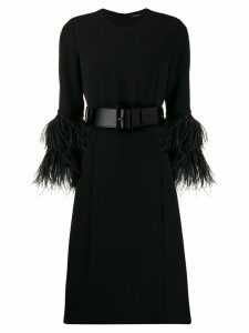 P.A.R.O.S.H. feather detail midi dress - Black