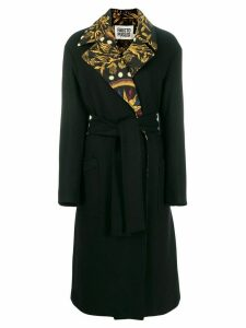 Fausto Puglisi printed collar belted coat - Black
