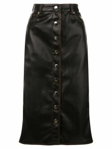Proenza Schouler PSWL Faux Leather Button Front Midi Skirt - Black