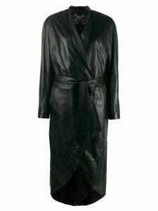 Federica Tosi wrap style leather coat - 002 Nero