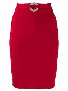 Philipp Plein stretch-cady fitted skirt - Red
