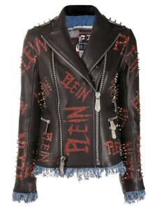 Philipp Plein Statement leather jacket - Black