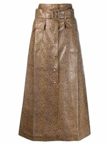 Nanushka snakeskin-effect A-line skirt - Brown