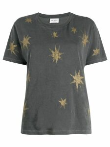 Saint Laurent distressed star print T-shirt - Grey