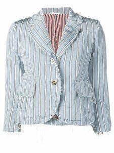 Thom Browne Tricolor Raw Edge Sport Coat - Blue