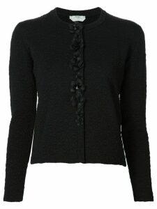 Fendi flower appliqué cardigan - Black
