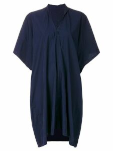 Y's draped V-neck dress - Blue
