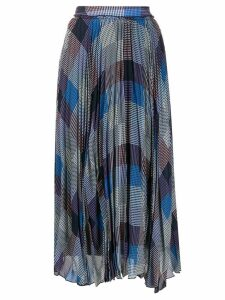 Frenken check print asymmetric skirt - Blue