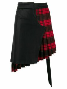 Unravel Project deconstructed tartan skirt - Black