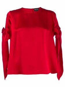 Giorgio Armani bow sleeve top - Red