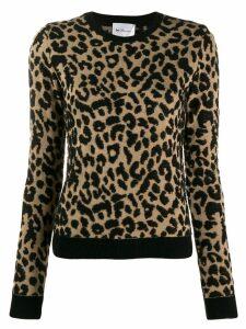 be blumarine leopard-intarsia jumper - Brown