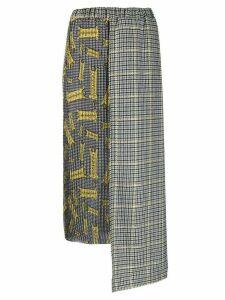Ultràchic checked panel asymmetric skirt - Black