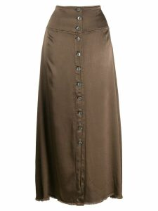 Raquel Allegra button up straight skirt - Green