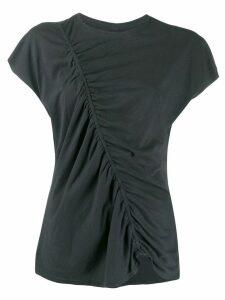 Raquel Allegra diagonal ruched T-shirt - Black