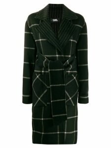 Karl Lagerfeld check print coat - Black