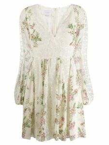 Giambattista Valli floral flared dress - White