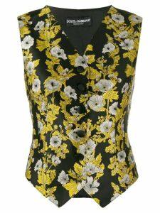 Dolce & Gabbana floral waistcoat jacket - Black
