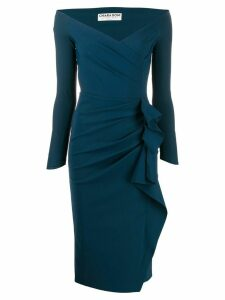 Le Petite Robe Di Chiara Boni side ruffle fitted dress - Blue