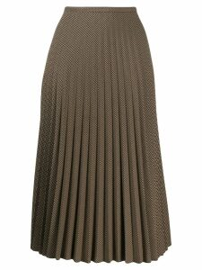 Piazza Sempione pleated houndstooth skirt - Brown