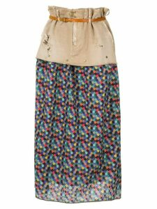 Kolor patchwork straight skirt - Neutrals