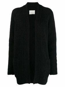 Laneus ribbed knit cardi-coat - Black